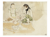 Deux Femmes arabes assises; Etude pour les Femmes d'Alger