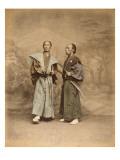 Deux hommes en costume traditionnel  samouraï