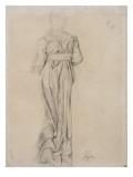 Femme debout  drapée  vue de dos ; étude pour Sémiramis