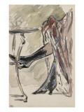 Deux jambes avec bottines sous une jupe rouge  devant un guéridon