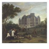 Vue du château de Madrid dans le bois de Boulogne vers 1722 - avec chasse au cerf du duc de