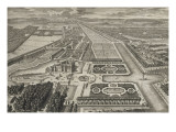 Planche 211: Vue générale à vol d'oiseau du château  des jardins  canaux et parc de Chantilly