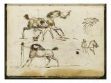 Album : Chevaux à l'écurie avec le palefrenier ; cavalier ; groupe de figures vers 1793-1800