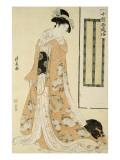 Femme en kimono rose et petit chien