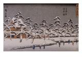 Vue d'un temple sous la neige