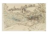 Village avec une ise devant un terrain de brousailles et d'arbres Giclée par Jean-François Millet