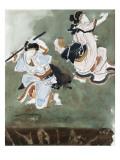 Deux acteurs de kabuki  d'après une estampe japonaise