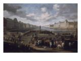 Vue de Paris avec le Louvre  prise du pont Henri IV