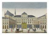 Vue de la façade du Palais de Justice prise de la place