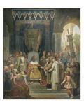 Charlemagne  entouré des ses principaux officiers  reçoit Alcuin qui lui présente des manuscrits
