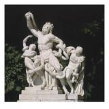 """Vue du parc : statue: demi-lune du parterre de Latone côté nord : """"Laocoon et ses fils étouffés"""