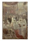 Pose de la première pierre du Pont Alexandre III à Paris par le Tsar Nicolas II  l'Impératrice et