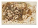 Femme racontant l'histoire de Psyché à une fille devant Lucius changé en âne