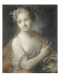Nymphe de suite d'Apollon  tenant une couronne de lauriers (copie d'un pastel de Rosalba Carriera)