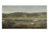 Vue de la Grande Cascade  des parterres et du château de Saint-Cloud prise de la Seine avant 1671
