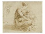 Jeune femme assise à terre avec deux enfants ; et un homme vu de dos