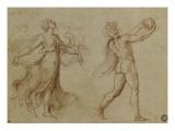 Faune nu jouant d'un instrument de musique suivi d'une bacchante dansant