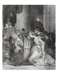 """""""Faust"""" de Goethe: Marguerite en prière à l'église avec Méphisto: """"Malheureuse""""; 1828"""