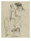 Etudes de nus féminins  d'une femme courbée  d'un buste de femme chapeautée
