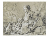 Young Peasant Woman Sitting with a Child and a Dog
