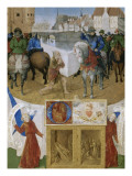 Suffrage  Saints du Livre d'Heures d'Etienne Chevalier : Saint Martin coupant un pan de son manteau