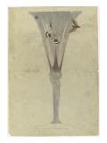 Modèle de vase en cristal en forme de fleur de liseron et décoré de deux papillons en vol pour