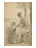 Jeune femme assise sur une balustrade  se détournant  dans un paysage