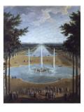 Vue du bassin d'Apollon et du Grand Canal de Versailles en 1713  au premier plan : Louis XIV à la