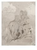 Couple d'amoureux assis dans un paysage devant un gisant; Ravenswood et Lucy à la fontaine des