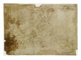 Noé lisant  près de l'arche  tenant une tablette et une corne d'abondance  assis sur des nuées