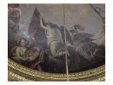 La France en armes répandant la foudre et tenant un bouclier orné du portrait de Louis XIV