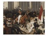 Louis-Philippe  duc d'Orléans  nommé lieutenant général du royaume  quitte à cheval le Palais