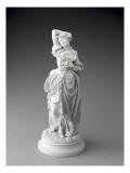 Statuette posée sur un socle rond  jeune femme en costume XVIIIème (sujet Watteau)