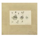 Modèle de décor pour un vase-cornet Louis XV : trois paysages lacustres inscrits dans des