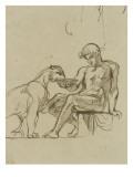 Ephèbe assis donnant à boire dans une coupe à une lionne ou Bacchus étude pour les fresques de