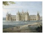 Vue du château de Chambord vers 1722 - au premier plan  le duc d'Orléans  Régent  donnant ses