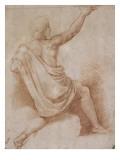Jeune homme drapé  à demi agenouillé  vu de dos  présentant une coupe