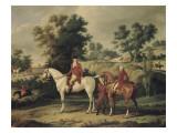 Le Départ pour la chasse : portraits équestres en costume de chasse de Louis Philippe  duc