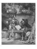 """""""Faust"""" de Goethe :Méphisto apparaissant à Faust dans son cabinet; 1828"""