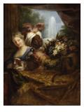 Jeune noir tenant une corbeille de fruits et jeune fille caressant un chien