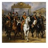 Sortant par la grille d'honneur du château de Versailles après avoir passé une revue militaire