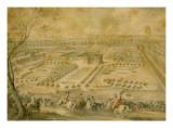 Louis XV en vue des jardins de Trianon  de la ménagerie et des basses-cours  du Pavillon français