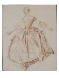 Jeune femme debout les bras étendus; étude pour La Camargo dansant