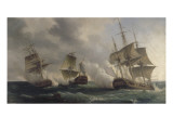 Combat naval entre les fr&#233;gates fran&#231;aises la Nymphe et l&#39;Amphitrite command&#233;es par le vicomte de