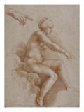 Femme nue assise sur des nu&#233;es port&#233;e par deux enfants ail&#233;s  reprise de la main droite et