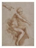 Femme nue assise sur des nuées portée par deux enfants ailés  reprise de la main droite et
