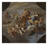 Mercure sur char tiré par deux coqs (esquisse du plafond du salon de Mercure au château de