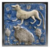 Carreau de revêtement illustrant un passage du Livre des Merveilles de Qazwini : chien  hérisson