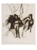 """Trois personnages en costume renaissance; projet pour le """"Faust"""" de Goethe :Méphisto  Faust et"""