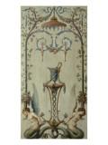 opéra royal : panneau d'arabesques avec rinceau  sirènes  fleurs et fruits